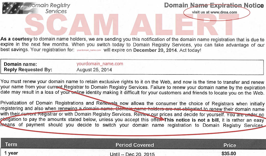 Droa Domain Expiry Notice Scam
