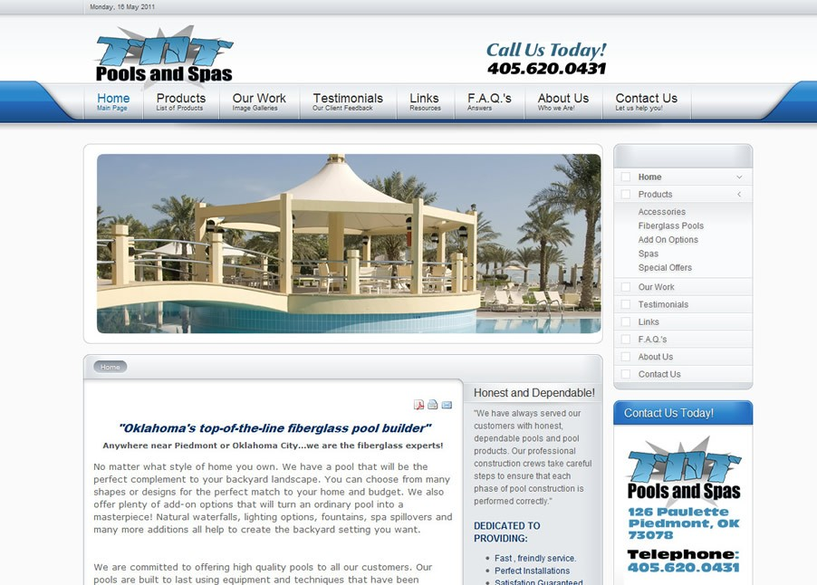 Pools and Spas Webdesign in Joomla 1.5