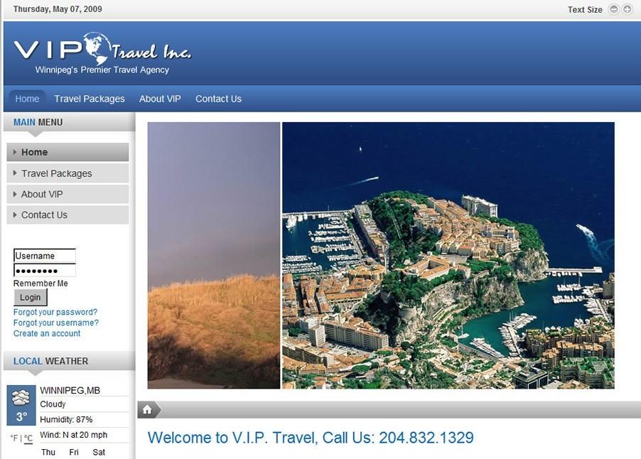 Travel Agency Webdesign in Joomla 1.5