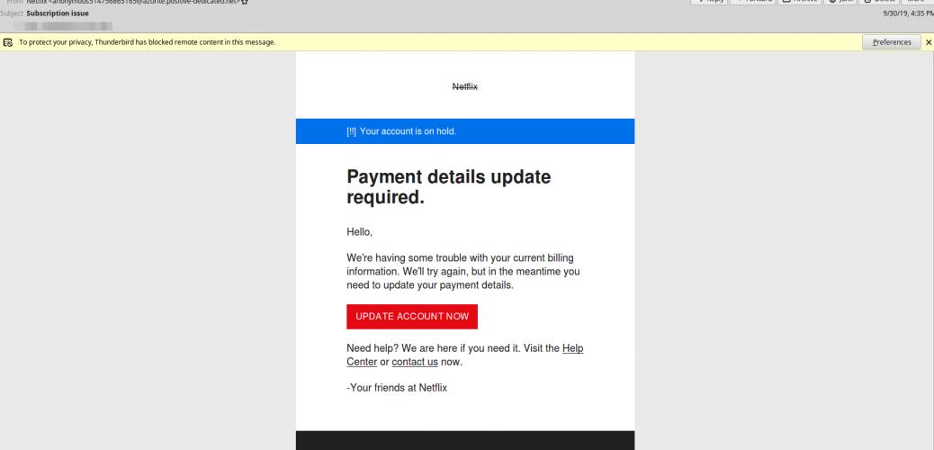 Phishing Email Increase Beware (netflix Sample)